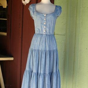 Denim Tiered Skirt Midi Off the Shoulder Dress